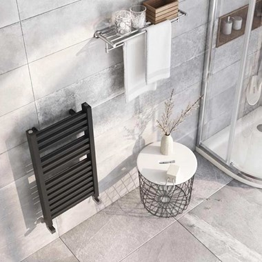 Brenton Pagosa Anthracite Heated Towel Rail - Double Layer Design - 800 x 400mm